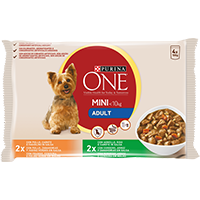 PURINA ONE® MINI < 10kg Adult com Frango, Cenoura e Feijão Verde em Molho