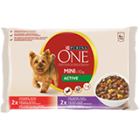 PURINA ONE MINI <10kg Active com Pato, Massa e Feijão Verde em molho