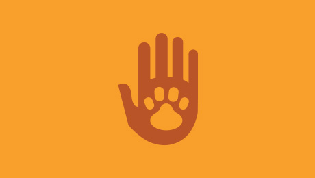 Handprint and pawprint logo